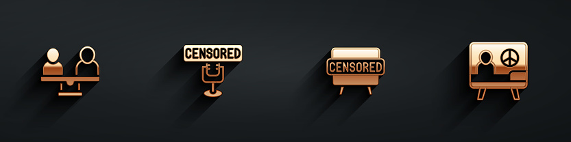 Set Gender equality, Censored stamp, and Peace icon with long shadow. Vector