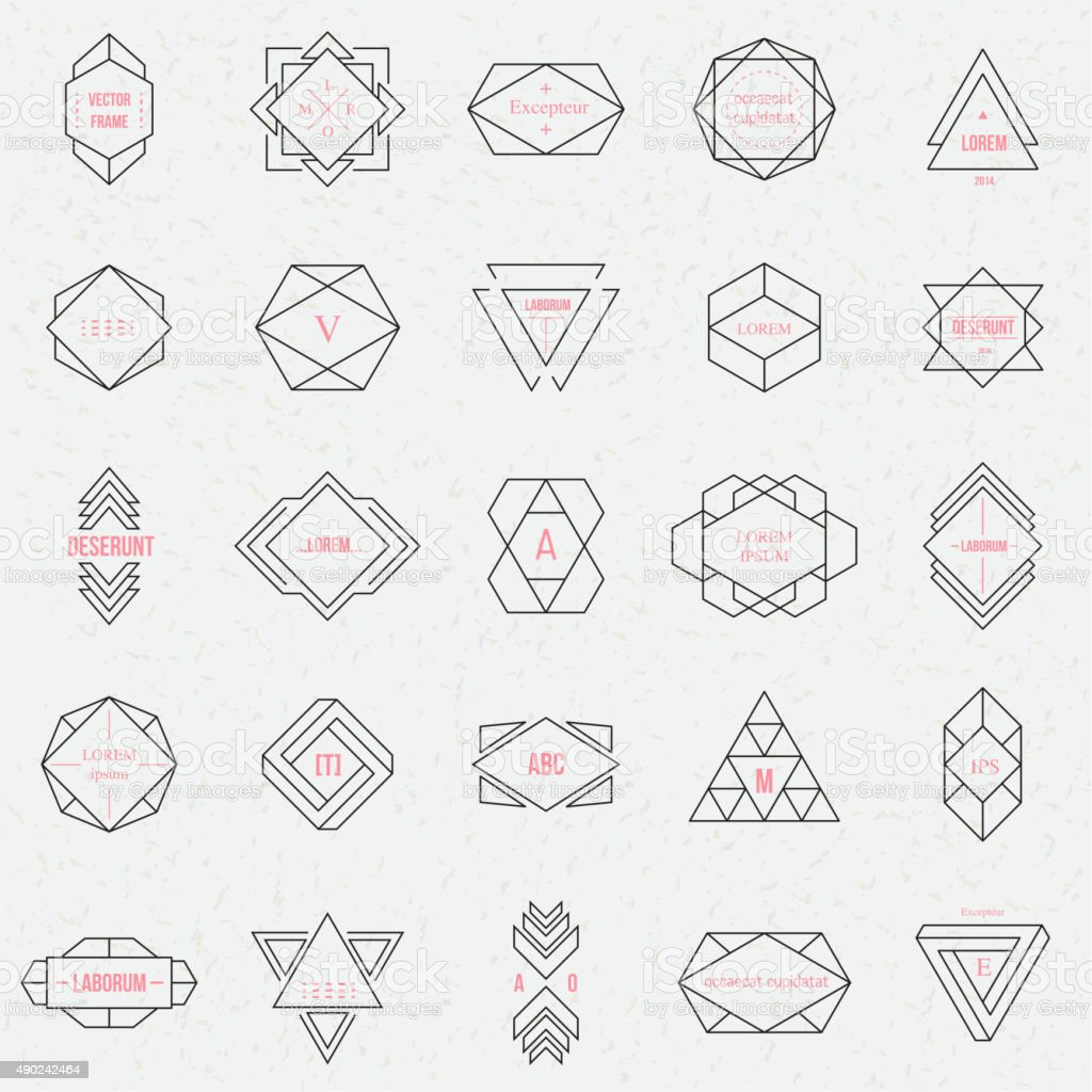 Set geometric signs, labels, and frames vector art illustration