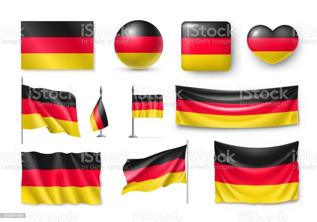 Festlegen Sie Deutschland Fahnen, Banner, Fahnen, Symbole, flache Symbol – Vektorgrafik