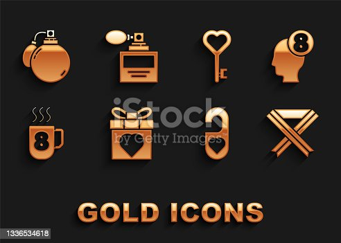 istock Set Gift box and heart, 8 March in human head, Breast cancer awareness ribbon, Please do not disturb with, Coffee cup, Key shape, Perfume and icon. Vector 1336534618