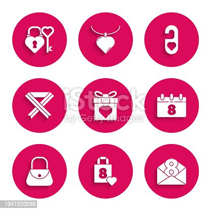 istock Set Gift box and heart, Shopping bag with, Envelope 8 March, Calendar, Handbag, Breast cancer awareness ribbon, Please do not disturb and Castle key shape icon. Vector 1341520255