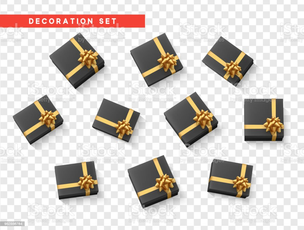 set gift box black with gold ribbon and bow stock vector art more