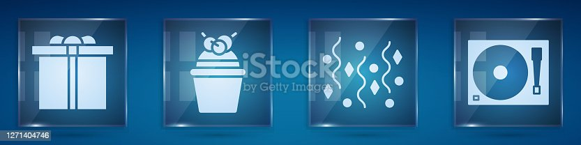 Set Gift box, Cake, Festive confetti and Vinyl player with a vinyl disk. Square glass panels. Vector