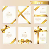 Set gift card vector illustration on light background, luxury wide gift bow with gold ribbons and space frame for text, gift wrapping template for banner, poster design.