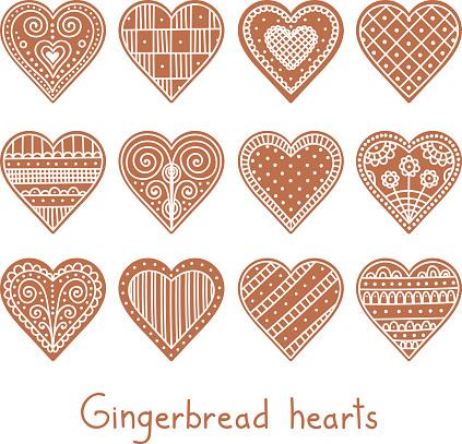 set gingerbread heart