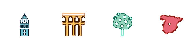 Set Giralda, Aqueduct of Segovia, Orange tree and Map Spain icon. Vector