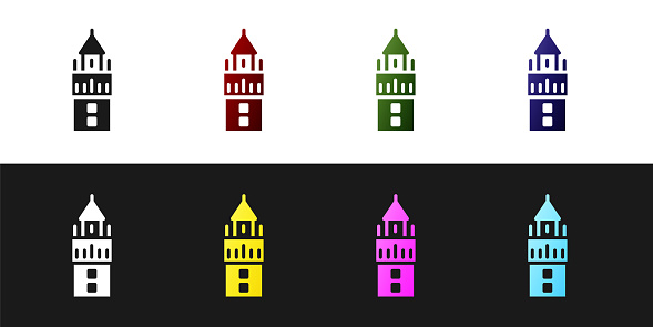Set Giralda in Seville Spain icon isolated on black and white background. Vector