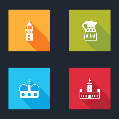 Set Giralda, Sangria pitcher, Crown of spain and Montjuic castle icon. Vector