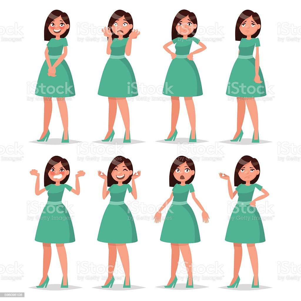 Set girl dressed in a dress with a variety vector art illustration