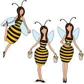 Set girls bees. Vector illustration.