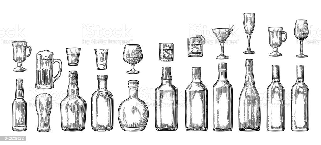 Set glass and bottle beer, whiskey, wine, gin, rum, tequila, champagne, cocktail vector art illustration