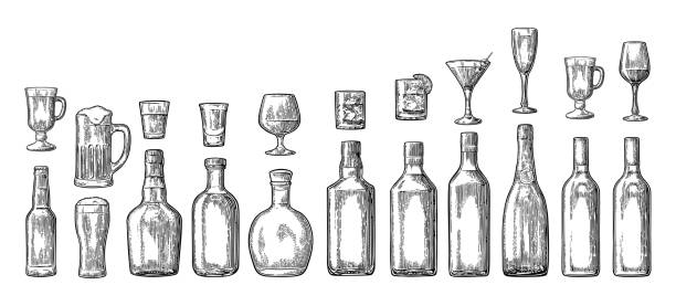 Set glass and bottle beer, whiskey, wine, gin, rum, tequila, champagne, cocktail Set glass and bottle beer, whiskey, wine, gin, rum, tequila, cognac, champagne, cocktail, grog. Vector engraved black vintage illustration isolated on white background bottle stock illustrations