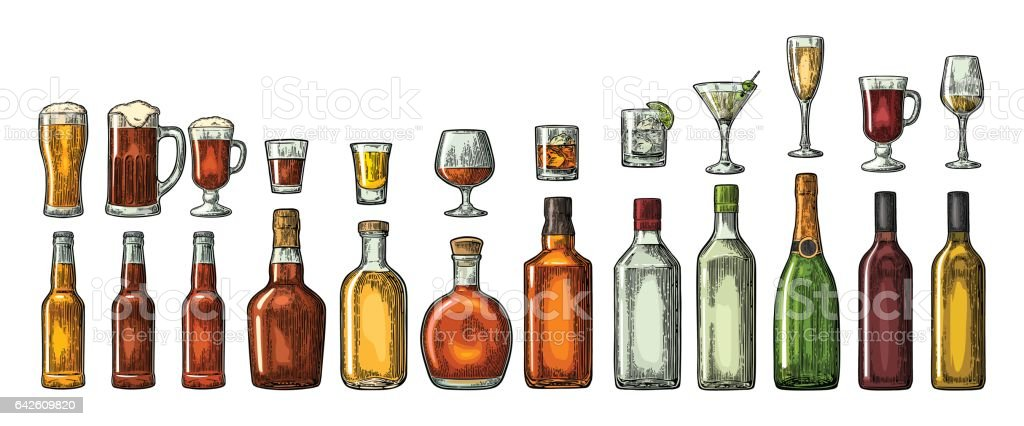 Set glass and bottle beer, whiskey, wine, gin, rum, tequila, cognac, champagne, cocktail, grog. vector art illustration