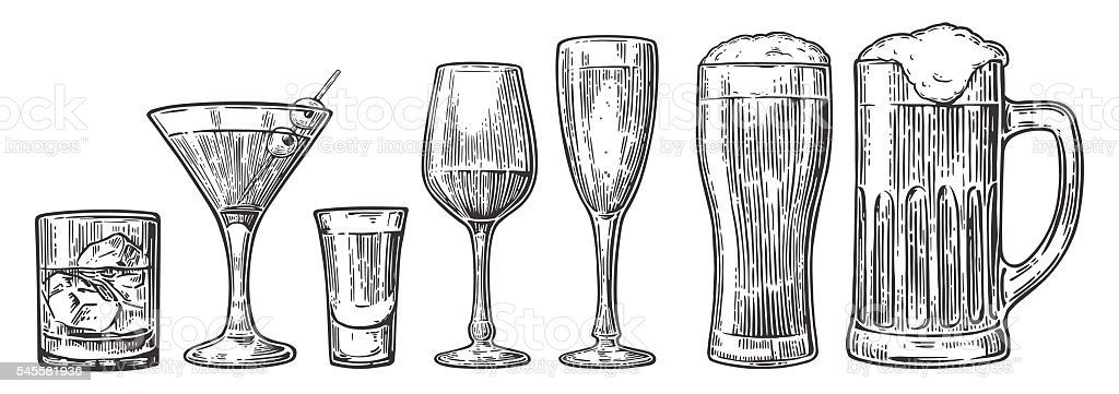Set glass beer, whiskey, wine, tequila, cognac, champagne, cocktails vector art illustration