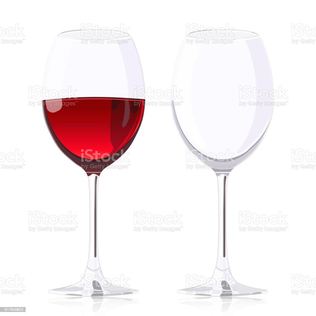 Set Verre Verres À Pied Verre À Vin Avec Du Vin Et Verre À Vin Vide Vecteur Réaliste Dessin Isolé Sur Fond Blanc Vecteurs libres de droits et plus
