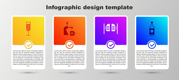 Set Glass of champagne, Beer tap with glass, Saloon door and bottle. Business infographic template. Vector