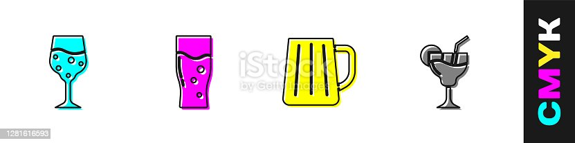 Set Glass of champagne, beer, Wooden mug and Cocktail icon. Vector.