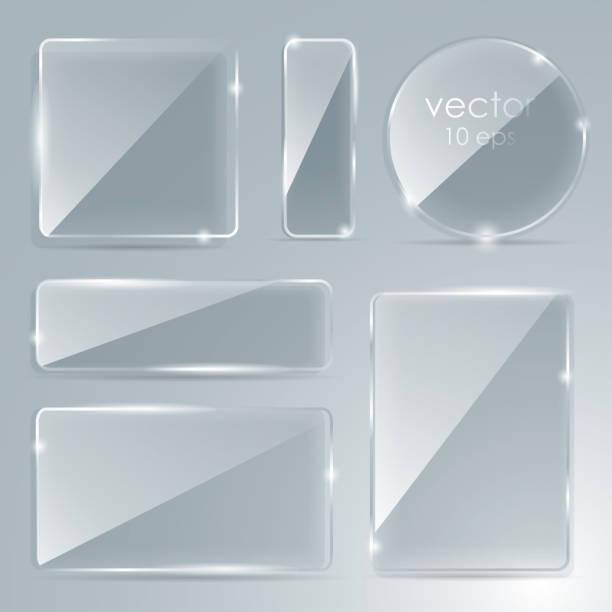碑文の場所でガラス板を設定します。ベクトル。フラット ガラス。ガラスのフレームワーク。ベクトルの図。eps 10。写真現実的なベクトル イラスト。 - ガラスのテクスチャ点のイラスト素材/クリップアート素材/マンガ素材/アイコン素材