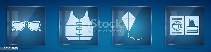 Set Glasses, Life jacket, Kite and Passport. Square glass panels. Vector