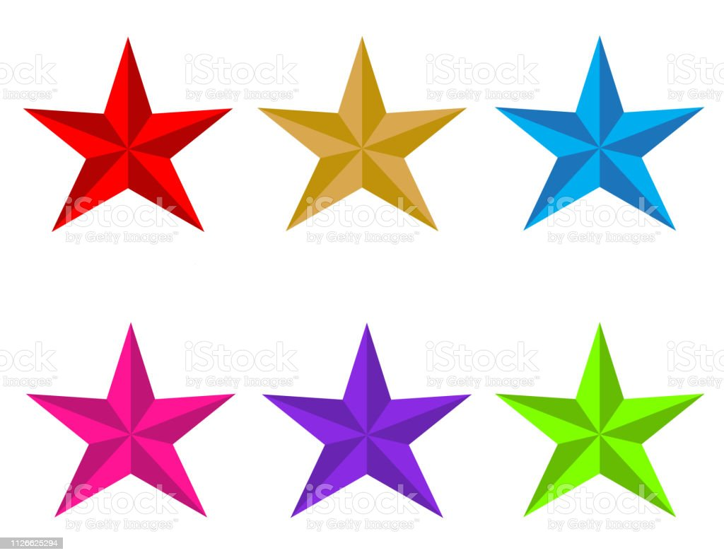 set glossy star icon on white background. flat style. red, gold,...