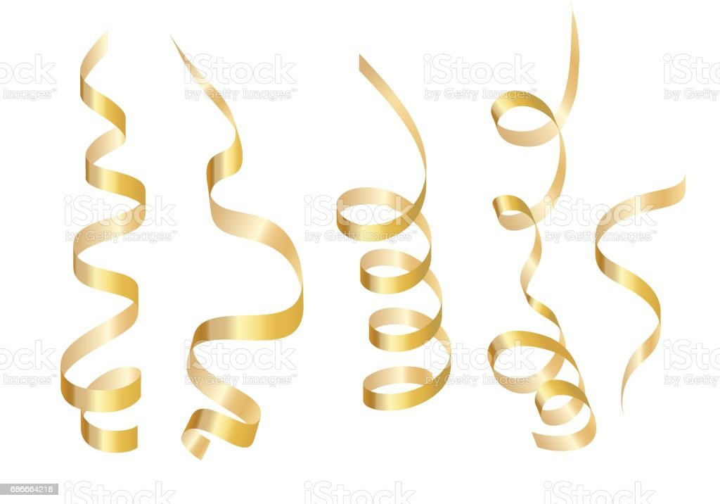Set gold curly ribbon serpentine. Isolated on white background. Vector illustration vector art illustration