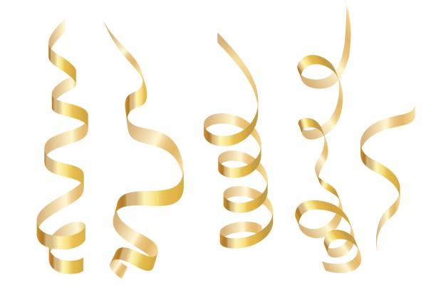 set gold curly ribbon serpentine. isolated on white background. vector illustration - streamer stock illustrations, clip art, cartoons, & icons