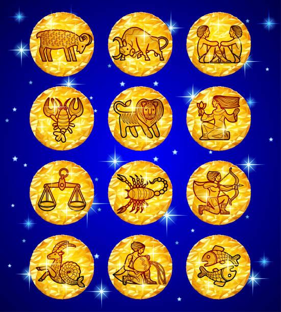 illustrations, cliparts, dessins animés et icônes de la valeur de clinquant d'or cercles avec les signes du zodiaque sur fond étoilé bleu - pisces zodiac