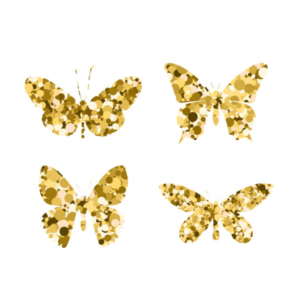 set gold glitter butterflies. beautiful spring, summer golden sequins silhouettes on white background. icons different shapes wings, for fashion, ornaments, tattoo. vector illustration. - spring fashion stock illustrations, clip art, cartoons, & icons