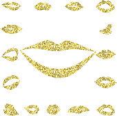 Set gold lips girl silhouette