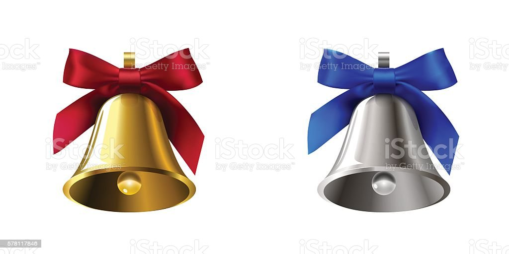 set golden bells with red bow and silver with blue vector art illustration