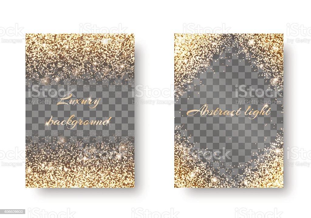Set golden light transparent background vector art illustration
