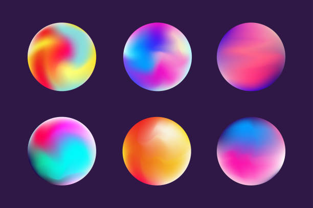 Gradient bunte Kugel in angesagten Style Set – Vektorgrafik