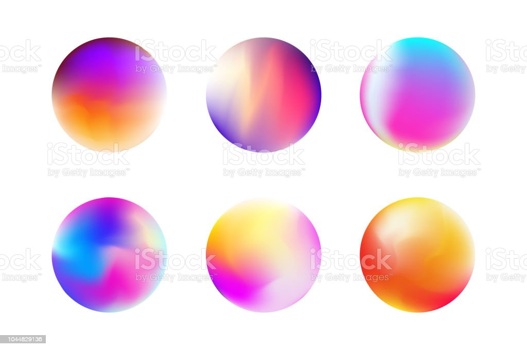 Set gradient colorful sphere in trendy style royalty-free set gradient colorful sphere in trendy style stock illustration - download image now