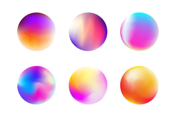 Set gradient colorful sphere in trendy style vector art illustration