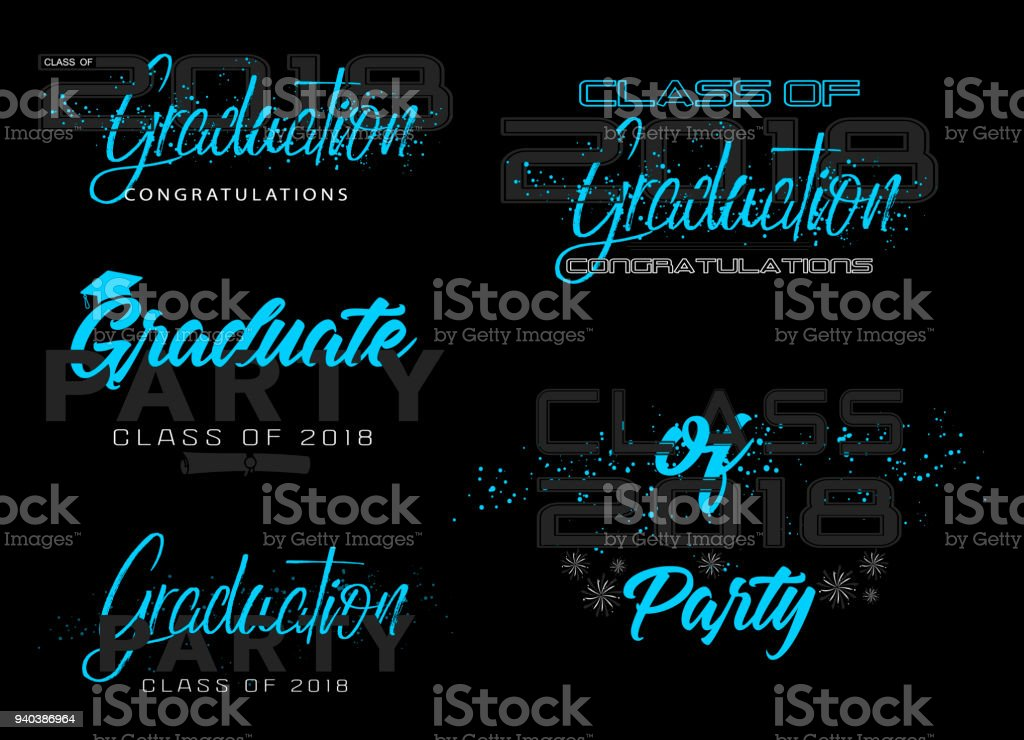 Ilustración de Conjunto Etiqueta De La Graduación Texto De Vectores ...