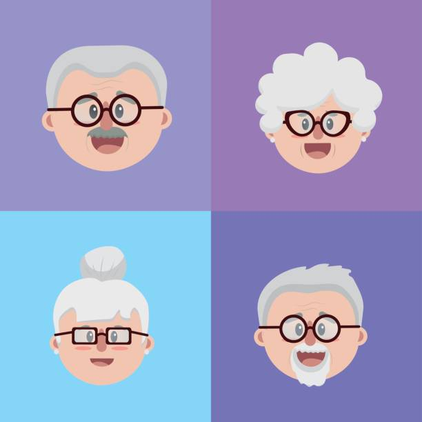 set grandparents couples face with glasses and hairstyle - old man glasses stock illustrations, clip art, cartoons, & icons