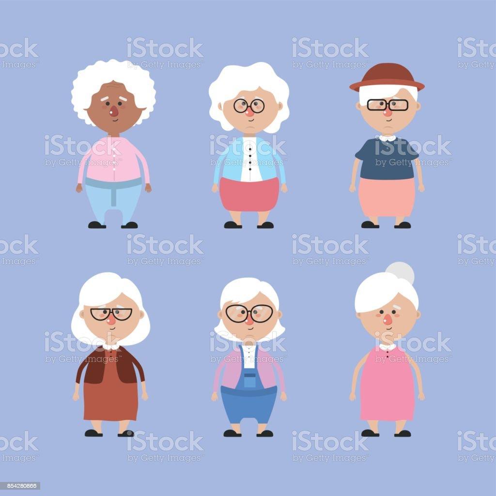 Ilustración de Sets Abuelos Con Peinado Y Ropa y más banco de ...