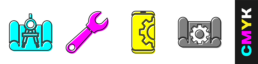 Set Graphing paper and compass, Wrench spanner, Setting on smartphone and Graphing paper and gear icon. Vector