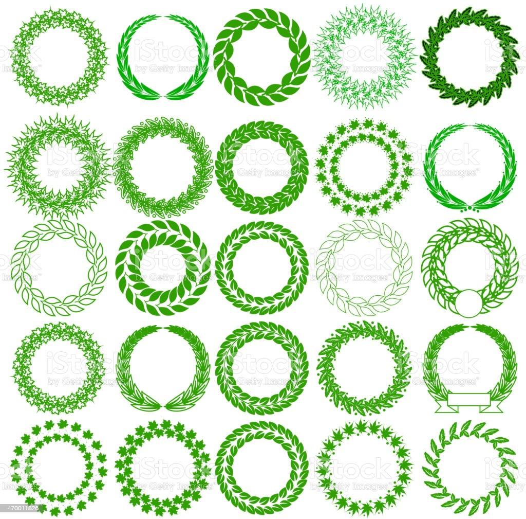 Set green laurel wreath on the white background. Vector illustration.