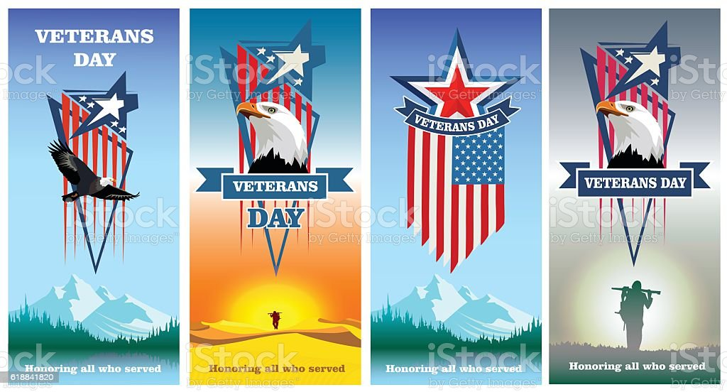Set greeting cards to veterans day