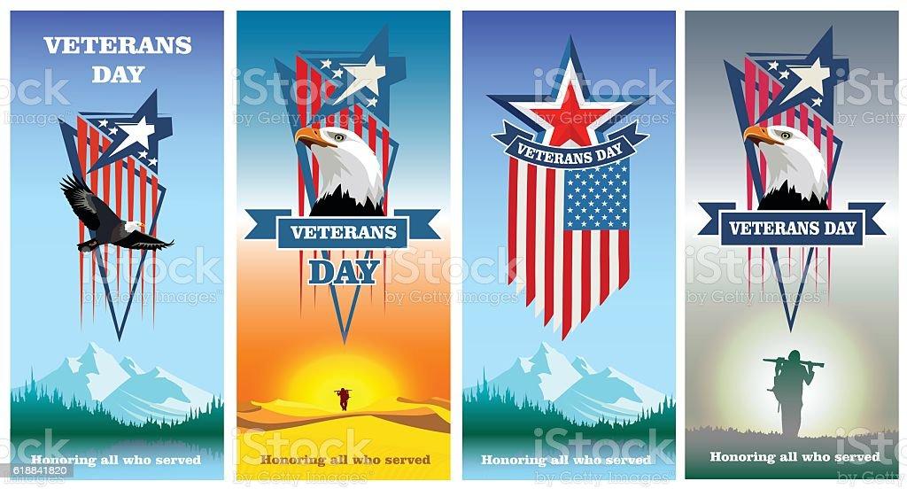 Set greeting cards to veterans day vector art illustration