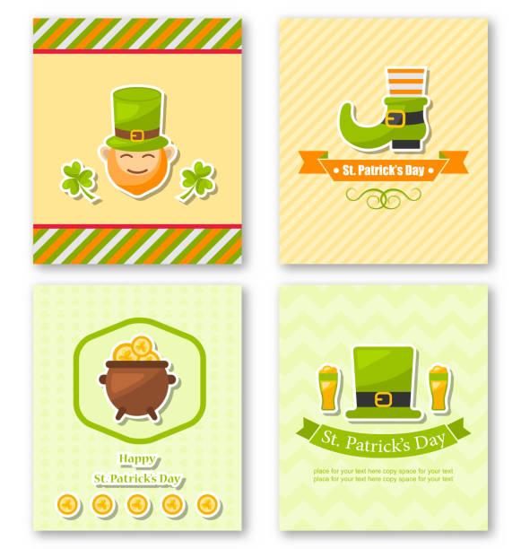 Set Greeting Posters with Traditional Symbols for St. Patricks D – Vektorgrafik