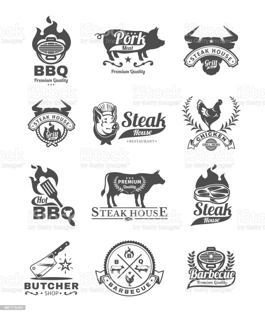 Set grill and barbecue badges, stickers, emblems vector art illustration