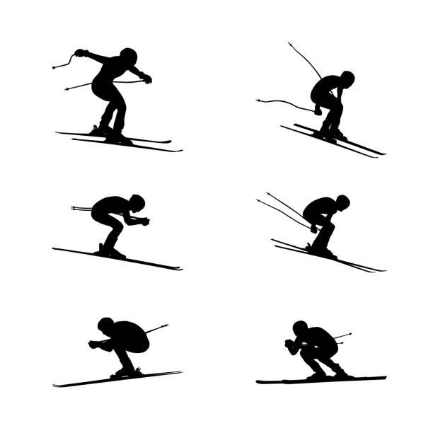 illustrazioni stock, clip art, cartoni animati e icone di tendenza di set group alpine skiing sport - sci