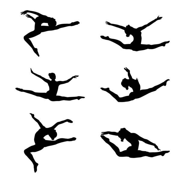 stockillustraties, clipart, cartoons en iconen met instellen van de artistieke gymnastiek groep - gym
