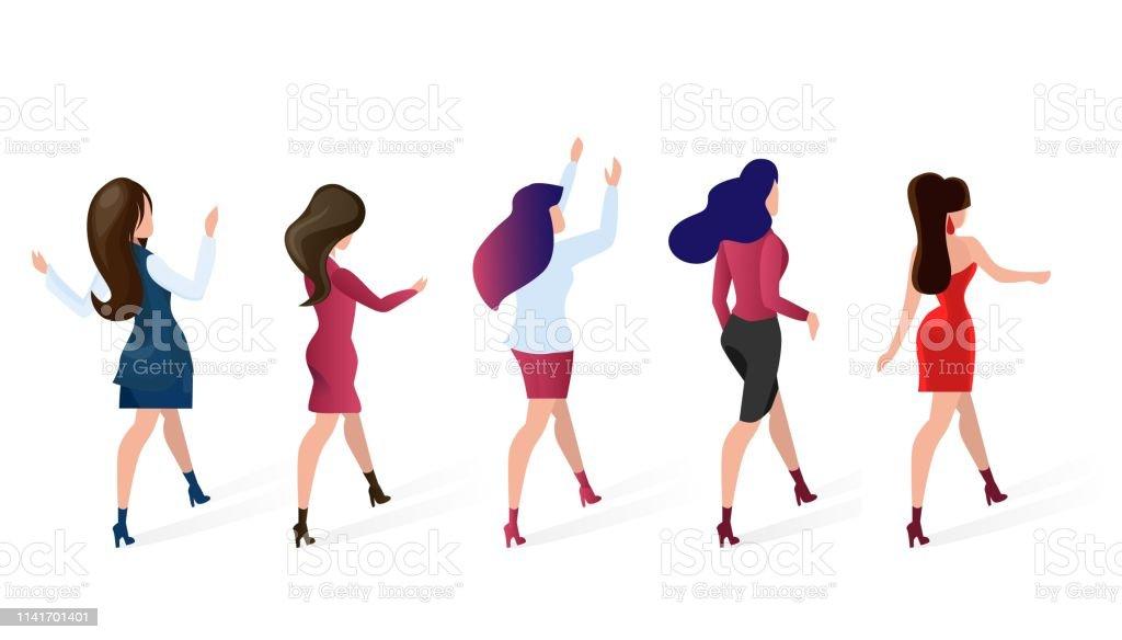 a6770d7b0 Set Group Women go Shopping Vector Illustration. royalty-free set group women  go shopping