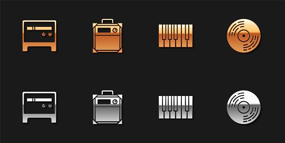 Set Guitar amplifier, , Grand piano and Vinyl disk icon. Vector