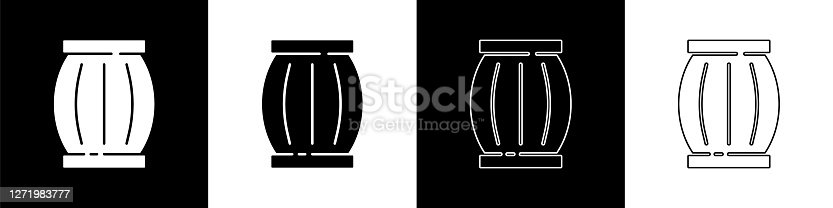 istock Set Gun powder barrel icon isolated on black and white background. TNT dynamite wooden old barrel. Vector 1271983777