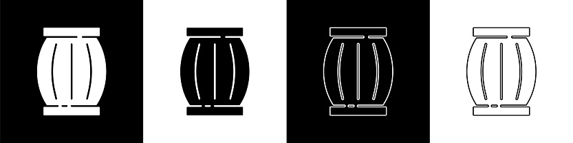 Set Gun powder barrel icon isolated on black and white background. TNT dynamite wooden old barrel. Vector