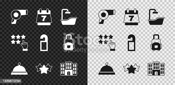 istock Set Hair dryer, Hotel booking calendar, Bathtub, Covered with tray of food, Stars rating, building, and Please do not disturb icon. Vector 1339870294